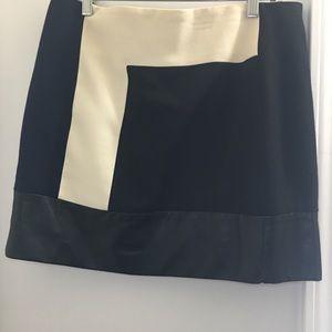 Zara Skirts - Zara Navy Cream & Black Lambskin Skirt | Large